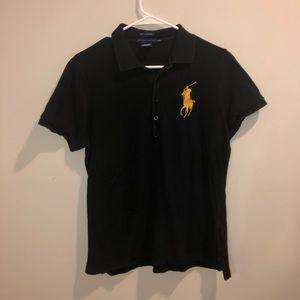 Ralph Lauren Skinny Polo Black Large Logo Polo